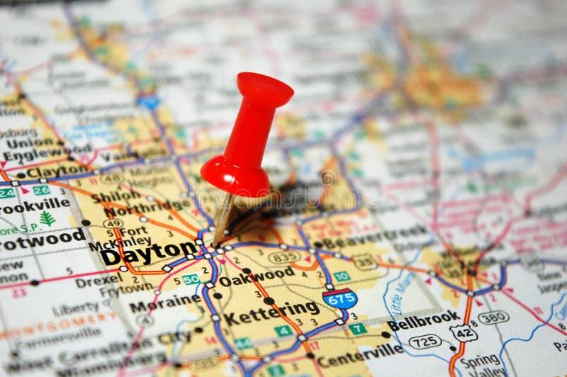 Dayton, Ohio. A map of Dayton, Ohio marked with a push pin royalty free stock photo