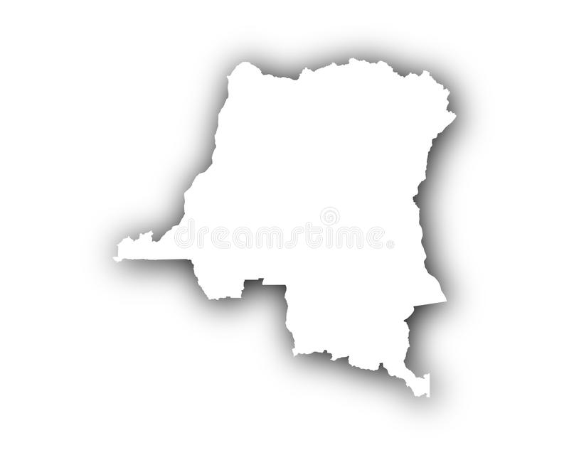 Map of the Democratic Republic of the Congo with shadow. Detailed and accurate illustration of map of the Democratic Republic of the Congo with shadow royalty free illustration