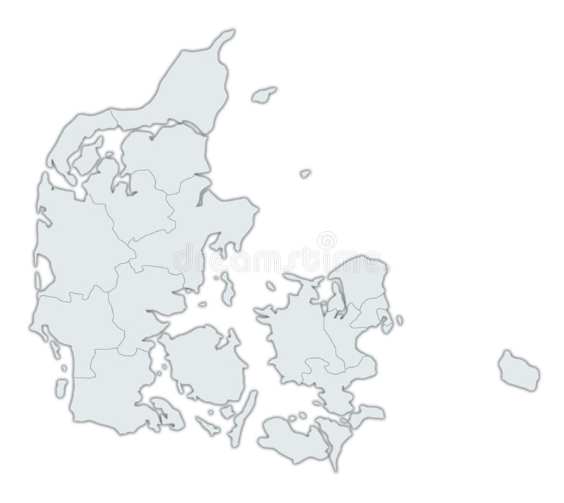 Map Of Denmark. A stylized map of Denmark showing the different provinces. All isolated on white background royalty free illustration