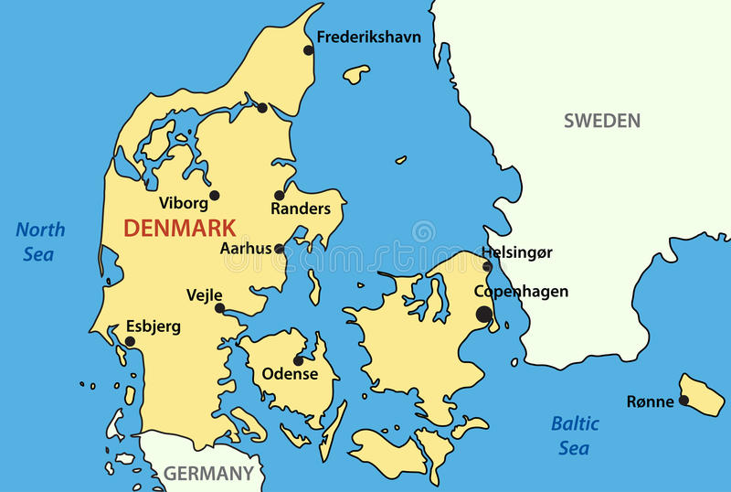 Map of Denmark vector stock vector Illustration of denmark 19027904