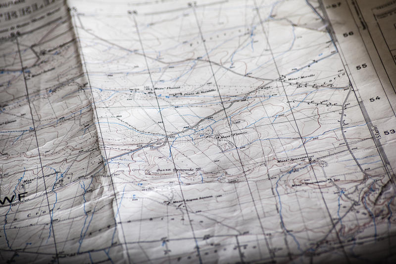 Map. Detail of an old and worn military map stock photos