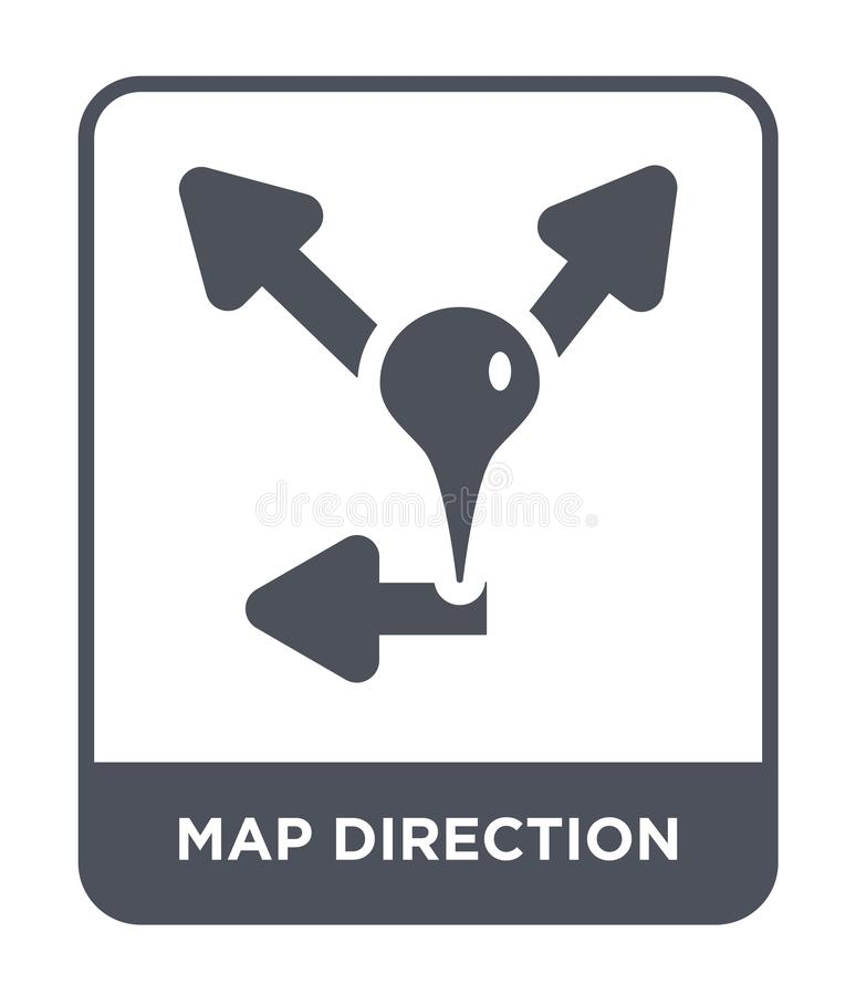 map direction icon in trendy design style. map direction icon isolated on white background. map direction vector icon simple and vector illustration