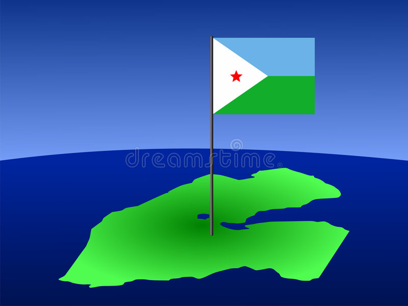 Map of djibouti with flag. Map of djibouti and their flag on pole illustration vector illustration