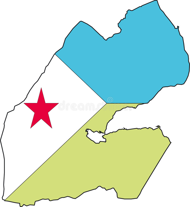 Map Djibouti-Vector. Illustration Vector of a Map and Flag from Djibouti vector illustration