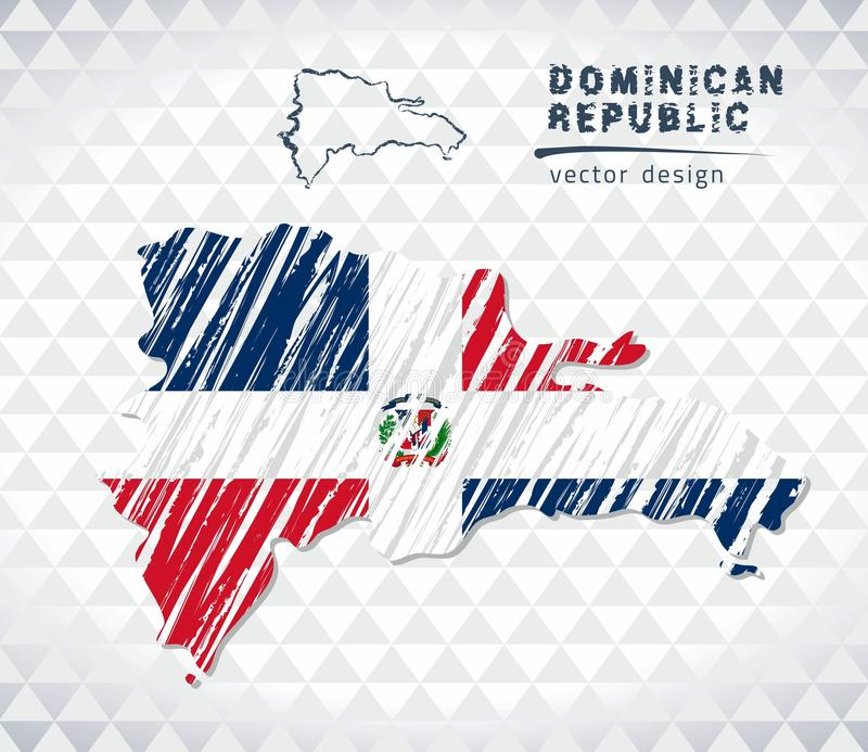 Map of Dominican Republic with hand drawn sketch pen map inside. Vector illustration vector illustration
