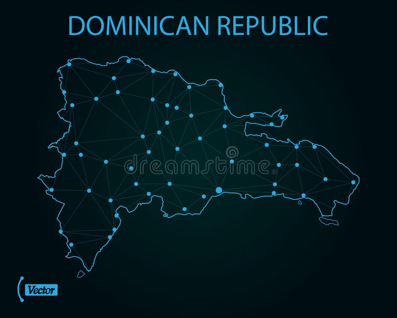 Map of Dominican Republic network. Vector illustration. World map stock illustration