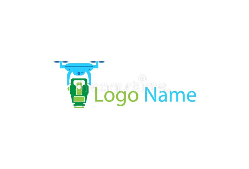 Map Drone Logo icon Design. Isolated on white background royalty free illustration