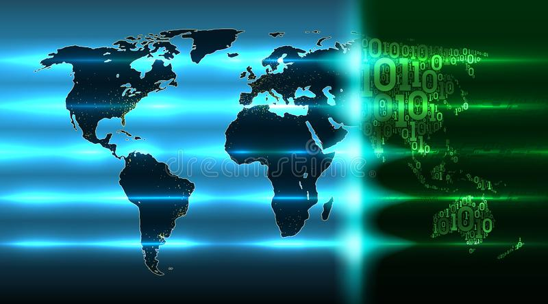 Map of the Earth with continents from a binary code with a background of abstract printed circuit boards, electronics. World map with evolving digital global vector illustration