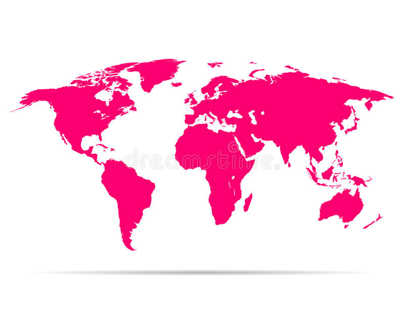 Map earth pink with shadow. Map earth with shadow pink colored stock illustration