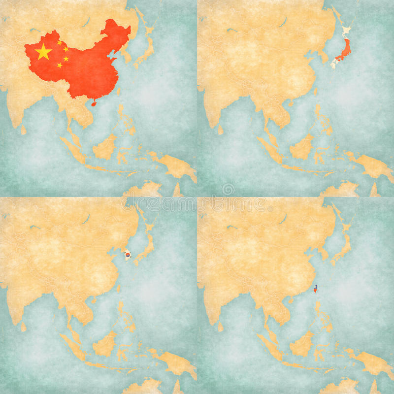 Map Of East Asia China Japan South Korea And Taiwan Stock - Map of east asia