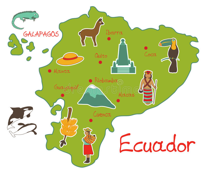 Map of ecuador with typical features stock illustration