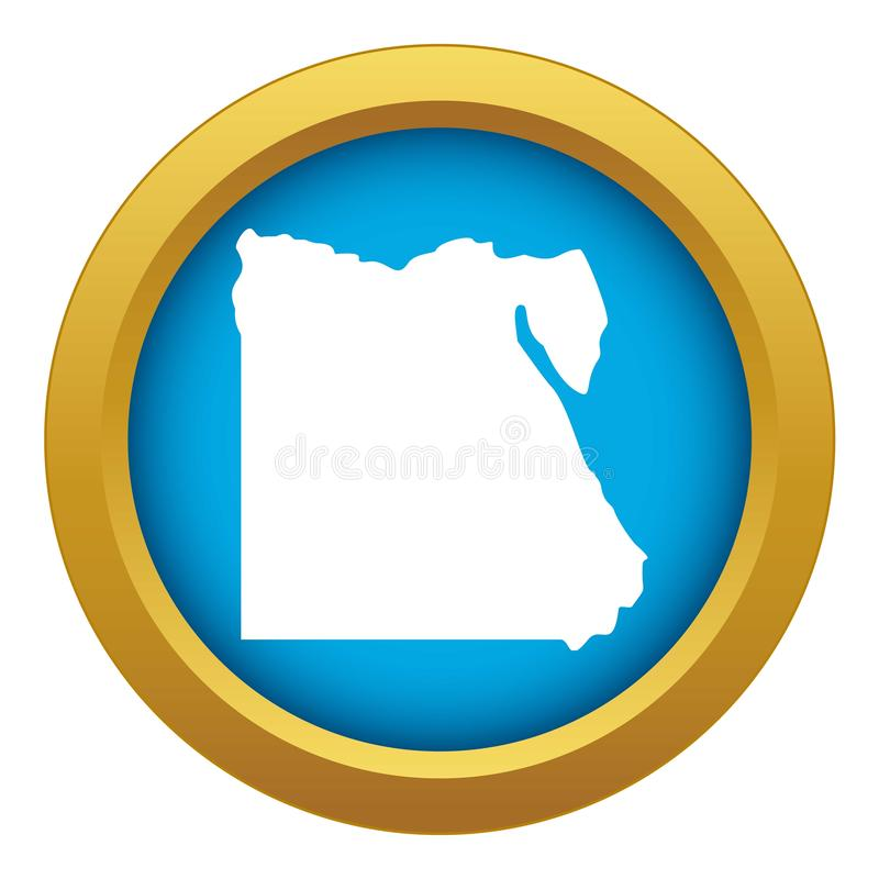 Map of Egypt icon blue vector isolated royalty free illustration