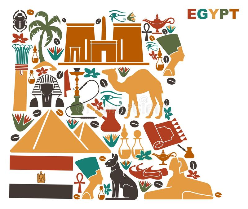 Map Of Egypt Made Of National Symbols Stock Vector Illustration Of