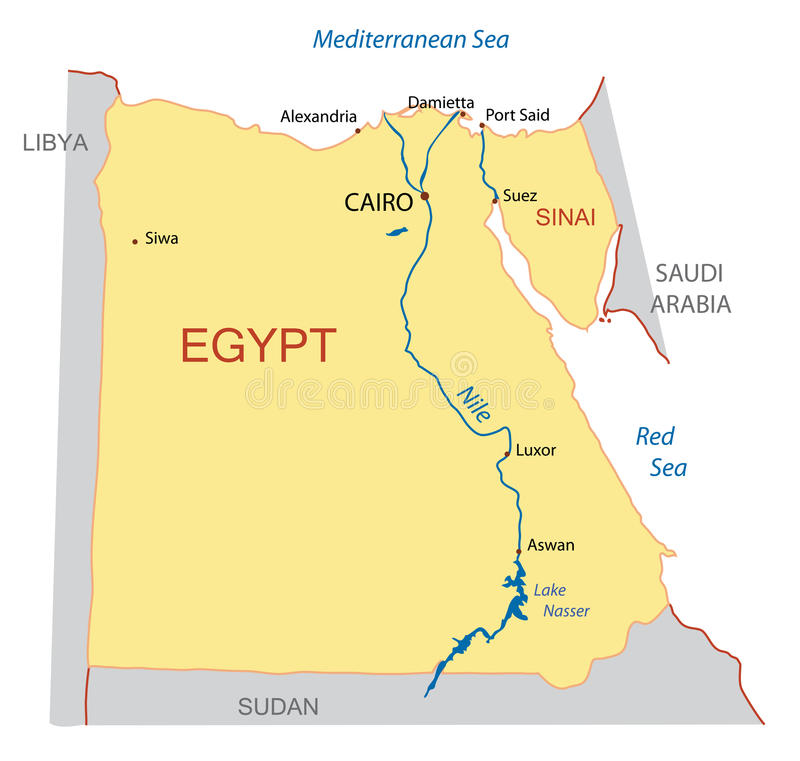 Map of Egypt - vector. Vector illustration - map of Egypt royalty free illustration