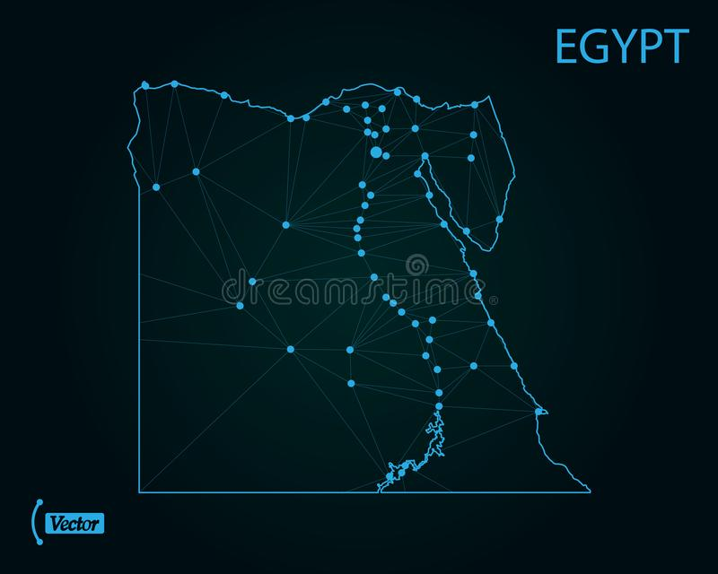 Map of Egypt. Vector illustration. World map stock illustration