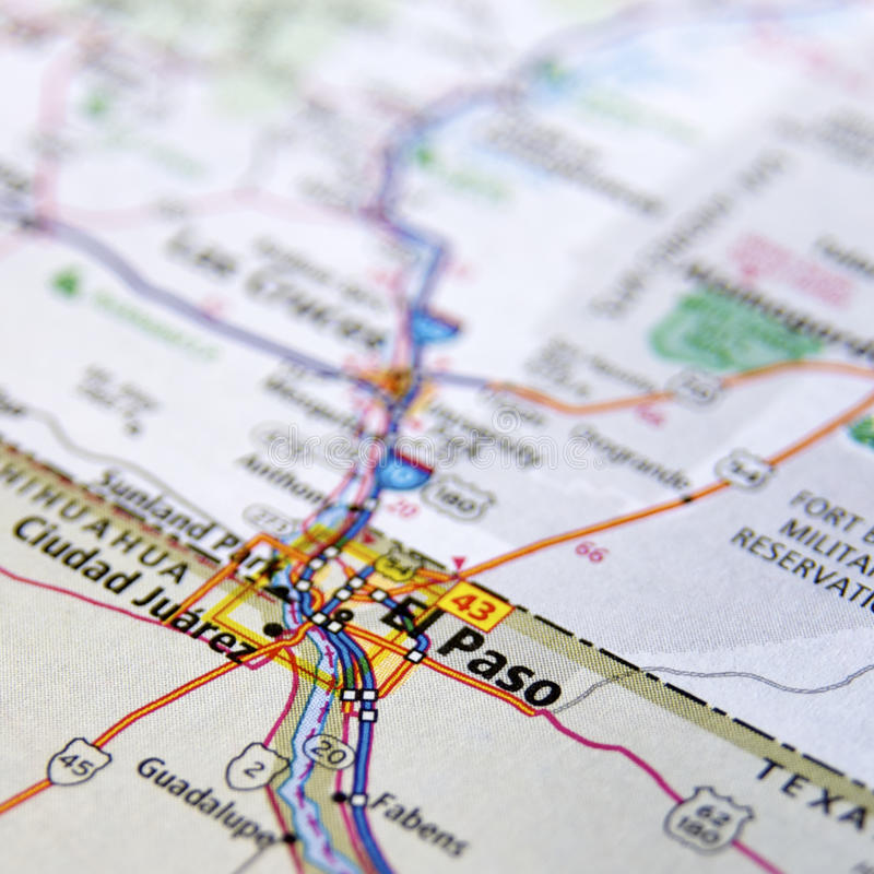 Map of El Paso in Texas stock image. Image of mapping - 42373949