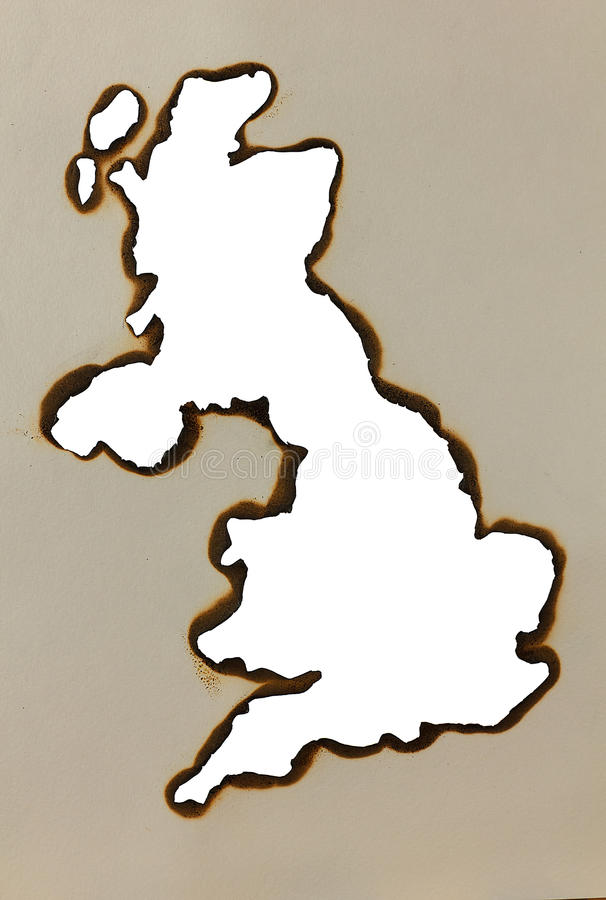 Map England. In the form of the burned holes in a sheet of paper royalty free stock photos