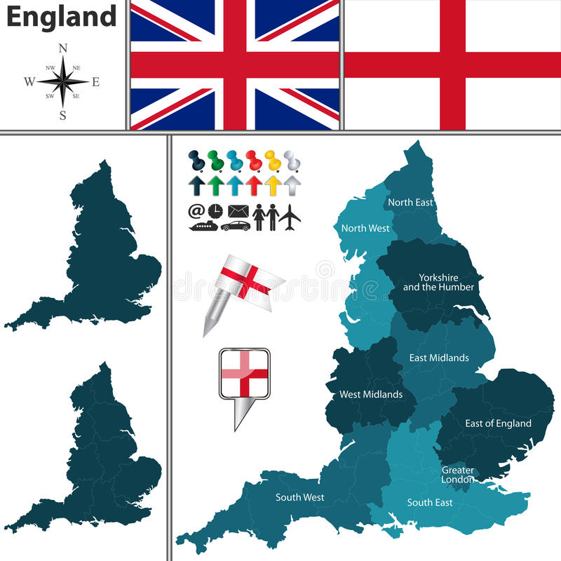 Map of England with regions. Vector map of England with regions and flags stock illustration