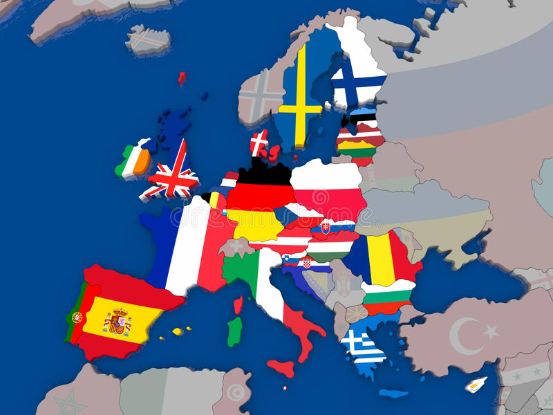 Map of EU. Ropean Union before Brexit with flags of member states highlighted and other countries greyed out. 3D illustration royalty free illustration