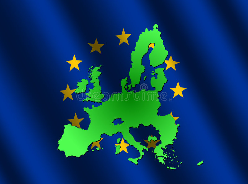 Map of EU on rippled flag. Map of European union on rippled EU flag illustration stock illustration