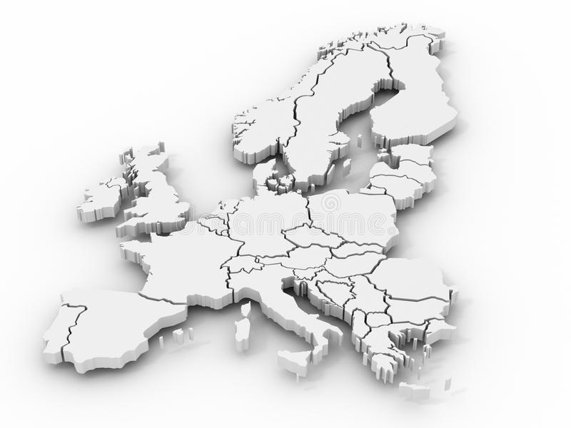 Map of europe. On white background. 3d stock illustration