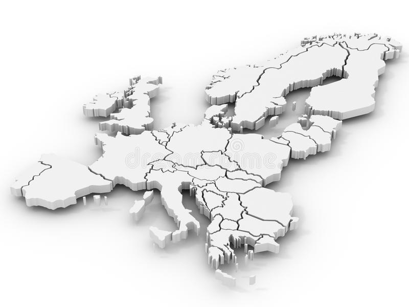 Map of europe. On white background. 3d royalty free illustration