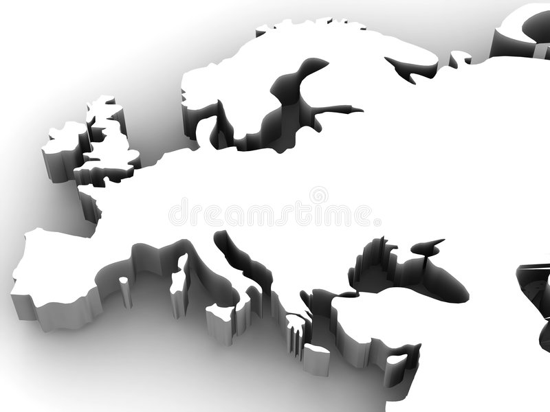 Map of Europe. 3d. Very beautiful three-dimensional illustration, figure vector illustration