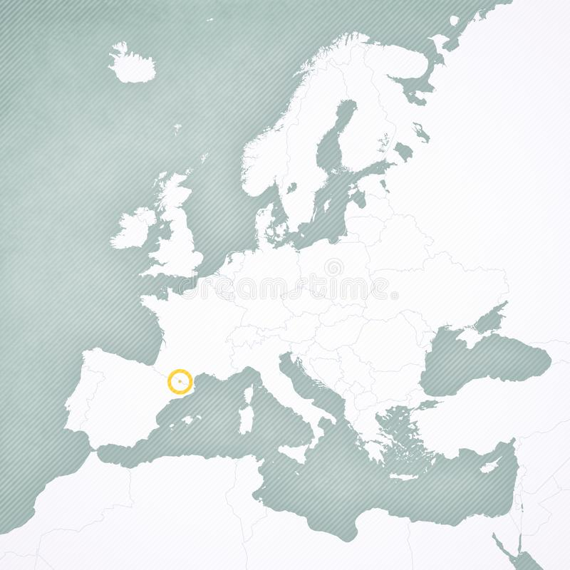 Map of Europe - Andorra. Andorra on the map of Europe with softly striped vintage background royalty free illustration