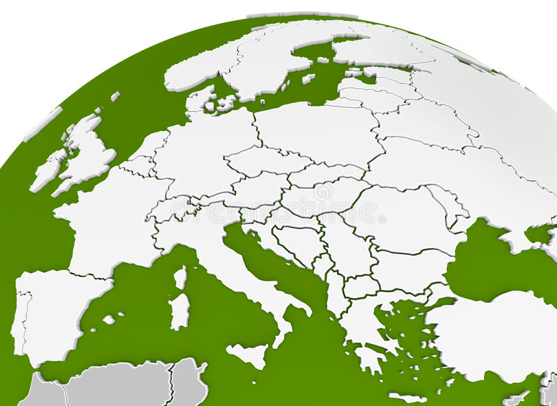 Map of europe arched on sphere stock image