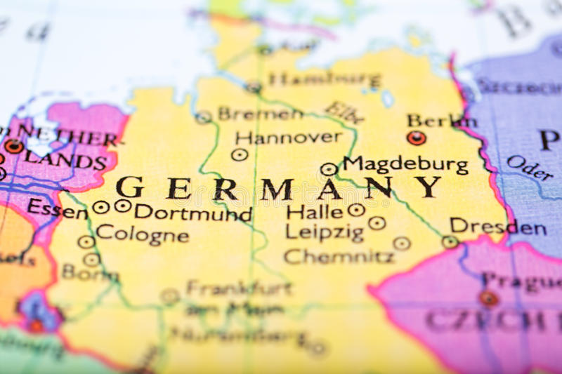 Map Of Europe Centered On Germany Stock Photo Image of push close