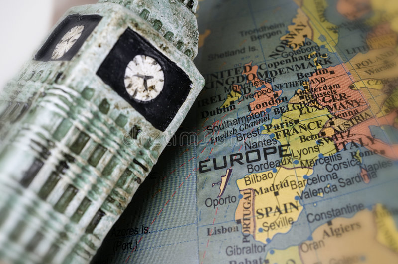 Map of Europe focus on ENgland. Map of Europe with focus on England, Big Ben frames the pic picture, symbol of government in UK stock photography