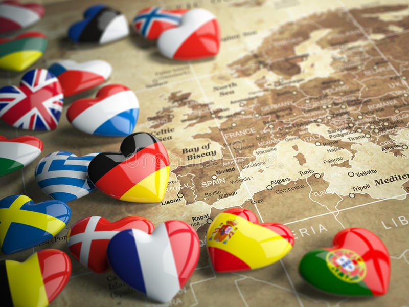 Map of Europe and hearts with flags of european countries. Travel EU concept. vector illustration