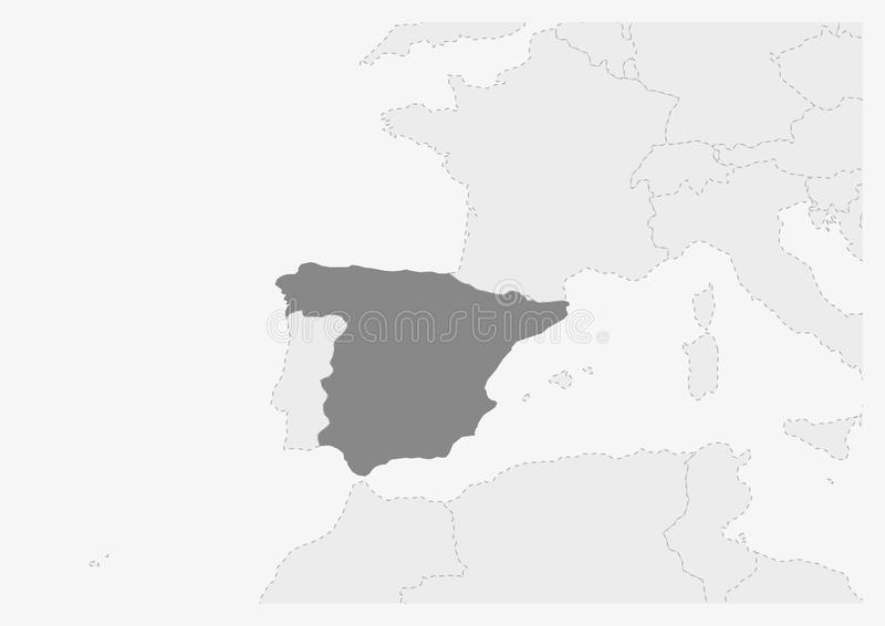Map of Europe with highlighted Spain map royalty free illustration