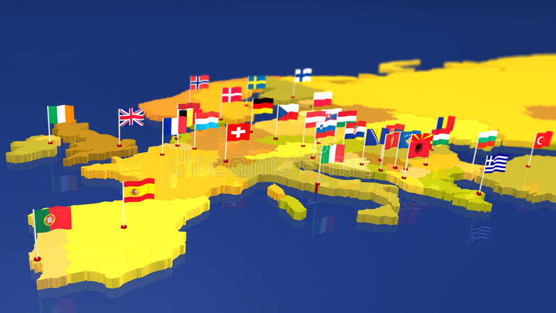 Map of Europe with national flags royalty free stock image