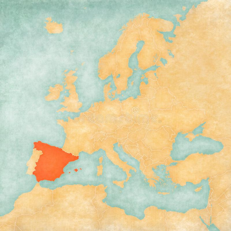 Map of Europe - Spain. Spain on the map of Europe in soft grunge and vintage style, like old paper with watercolor painting royalty free illustration