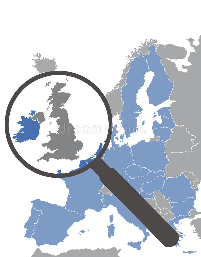 Map of European Union without England after Brexit highlighting Great Britain behind magnifying glass stock illustration
