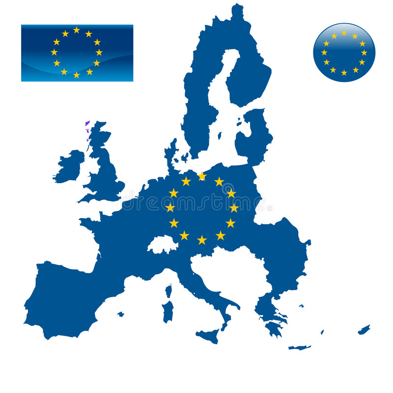 Map of European union and EU flag. Vector royalty free illustration