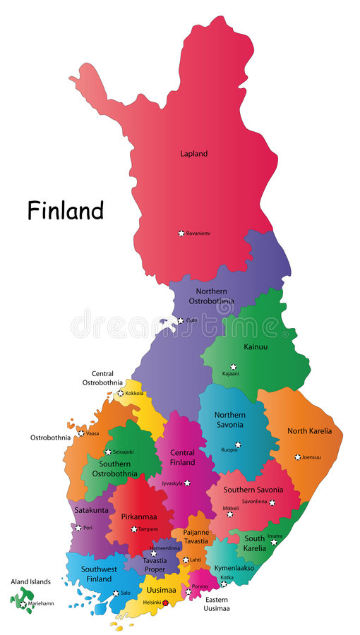 Download Map of Finland stock vector. Image of illustration, color - 6303954