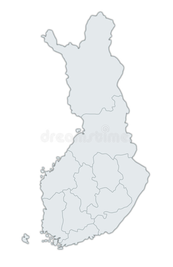 Map Of Finland. A stylized map of Finland showing the different provinces. All isolated on white background vector illustration