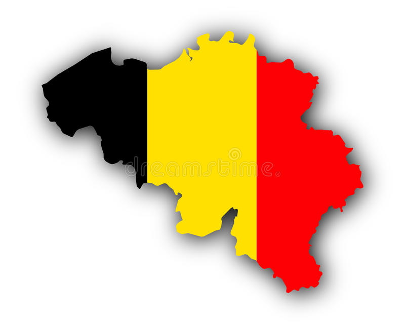 Map and flag of Belgium royalty free illustration