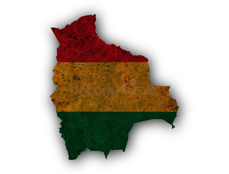 Map and flag of Bolivia on rusty metal. Colorful and crisp image of map and flag of Bolivia on rusty metal vector illustration
