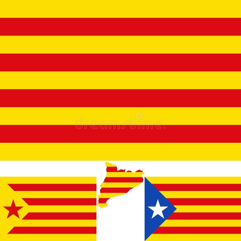 Map and flag of Catalonia. Blue estelada. Socialist Independentist red estelada. Vector royalty free illustration