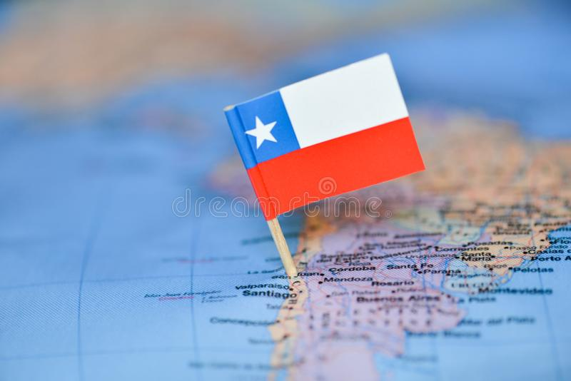 Map with flag of Chile stock images