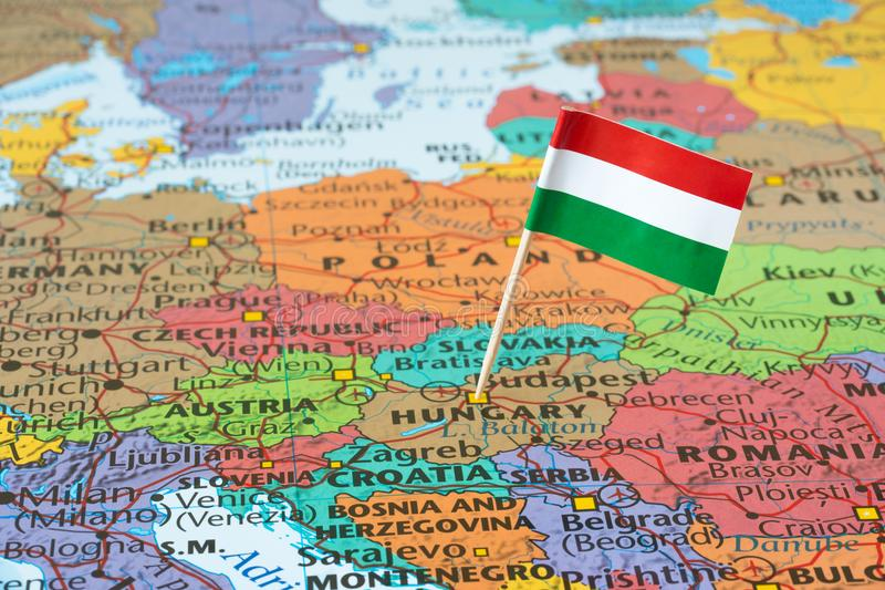 Hungary map and flag pin. Map with flag of Hungary, it is is a unitary parliamentary republic in Central Europe stock image