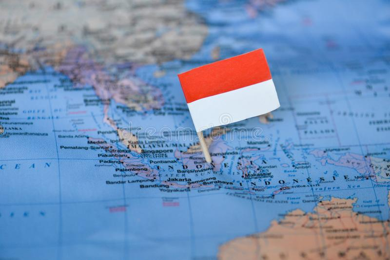 Map with flag of Indonesia. The Map with flag of Indonesia stock photos