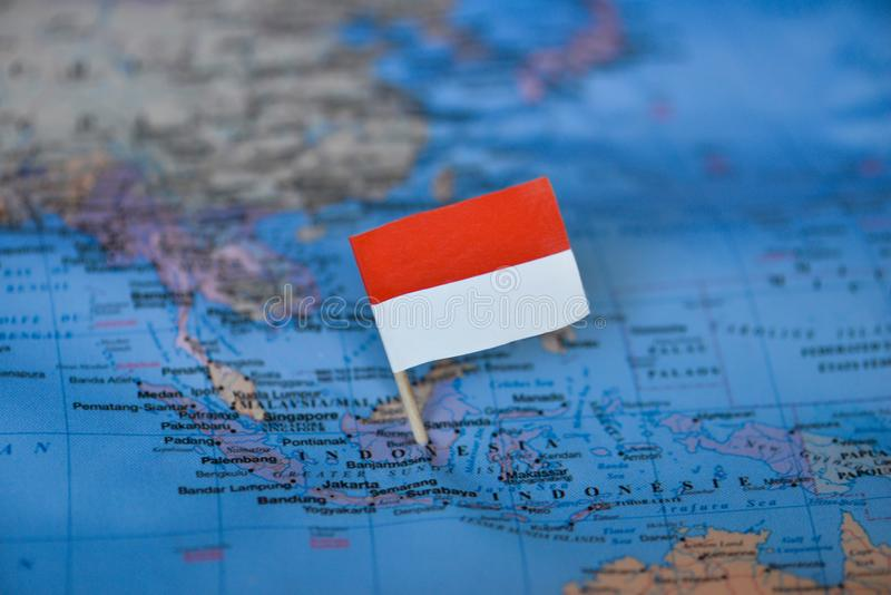 Map with flag of Indonesia. The Map with flag of Indonesia stock images