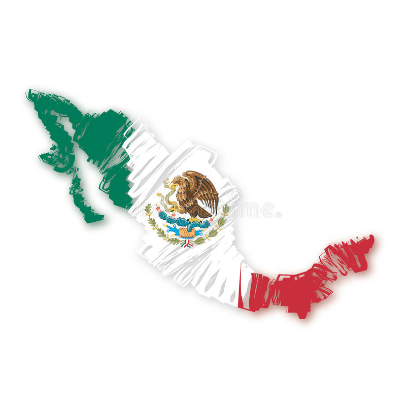 map flag Mexico (vector) vector illustration