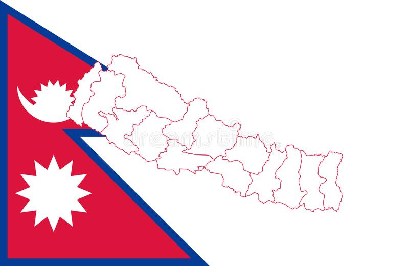Map and flag of Nepal stock illustration. Illustration of border ...