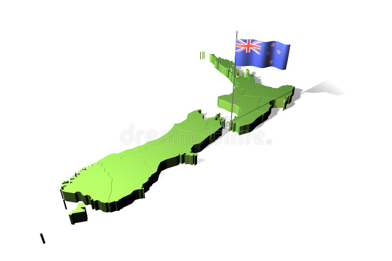 Map and flag of New Zealand stock illustration