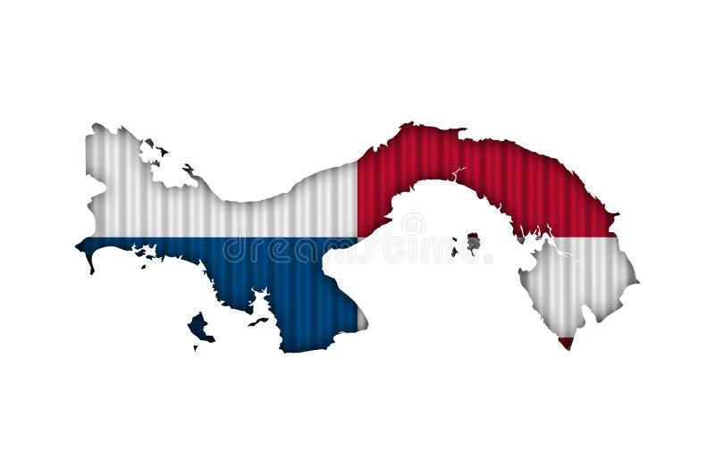 Map and flag of Panama on corrugated iron. Colorful and crisp image of map and flag of Panama on corrugated iron stock photo